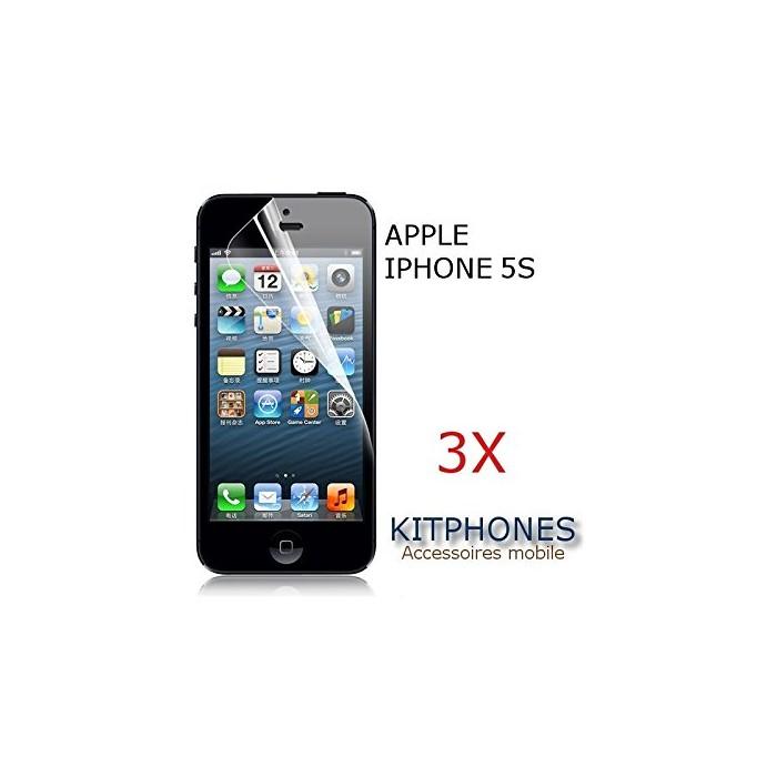 LOT DE (3X) FILM PROTECTION PROTEGE PROTECTEUR ÉCRAN CLAIR DEVANT POUR APPLE IPHONE 5S 5GS - KITPHONES®